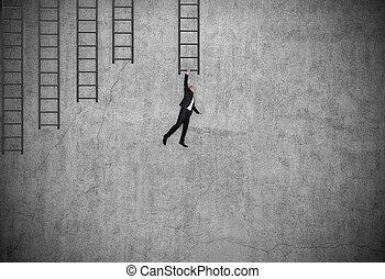 被懸挂, 商人, 梯子, 衣服