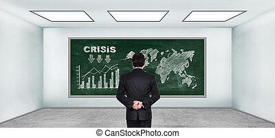 hombre de negocios, Mirar, en, dibujo, crisis, concepto,