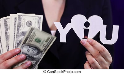 Business Woman Loves Money - Business woman holding a few...
