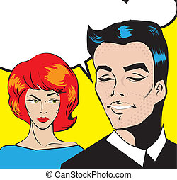 Pop Art talking Couple Love Relationship