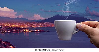 Espresso coffee cup over the Gulf of Naples - Espresso...