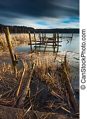 Lake with old destroyed pier - Small pier on lake, beautiful...