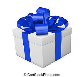 Gift Box Blue Ribbon And Bow