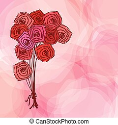 Bouquet of red roses on pink abstract background.