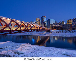 Pedestrian bridge spanning the Bow River in Calgary Alberta...