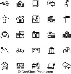 Real estate line icons on white background, stock vector