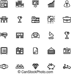 Asset and property line icons on white background