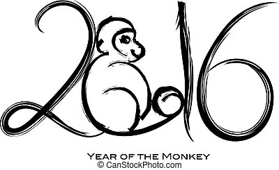 2016 Year of the Monkey with Peach Ink Brush Strokes - 2016...