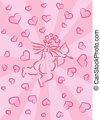 Cupid with Bow and Arrow Ink Brush Pink Background