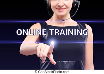 business, technology, internet and networking concept - businesswoman pressing online training button on virtual screens