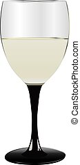 Glass of white wine Wine glass on a black high leg