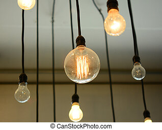 Light Bulbs hanging on the ceiling
