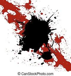 Vector ink  black and red  paint splatter  Background. illustration vector design