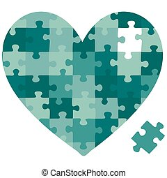 Happy Valentines Day - Cut out jigsaw heart in vector format...