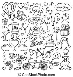 Hand drawn Love set - Vector illustration with doodle love...