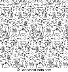 Hand drawn Love seamless pattern - Vector illustration with...