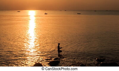 Motion from Silhouette in Sea to Bright Sun Path Boats at...
