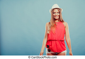 Cute fashion woman in hat and red shirt Portrait - Portrait...