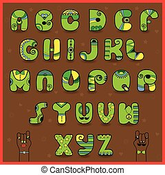 Smaragdine Alphabet. Funny green yellow letters. African...