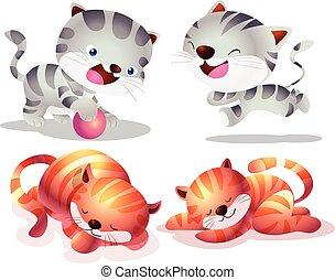 Cute cat cartoon actions