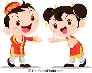 Vector illustration Chinese Kids - Vector illustration cute...