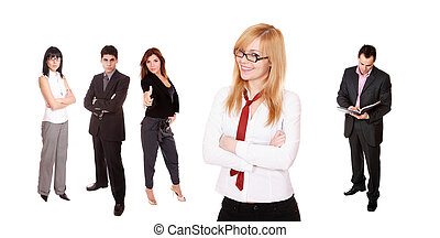 Young attractive business people