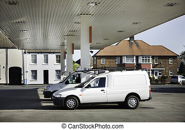 petrol gas filling station - vehicle parked at gas petrol...