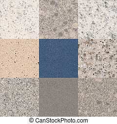 stone agglomerate - samples of colored tiles from the sinter