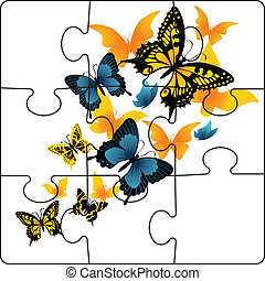 Puzzle from butterflies. Vector illustration