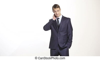 body language man dressed business suit isolated on white...