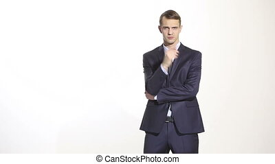 body language man in business suit isolated on white...