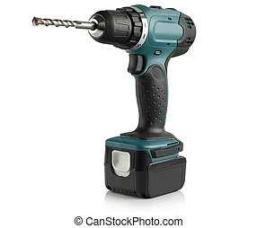 Rechargeable and cordless drill on a white background