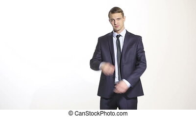 gestures distrust lies body language man in business suit...