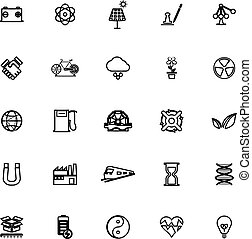 Renewable energy line icons on white background, stock...