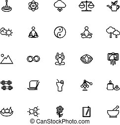 Zen concept line icons on white background