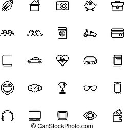 Personal data line icons on white background