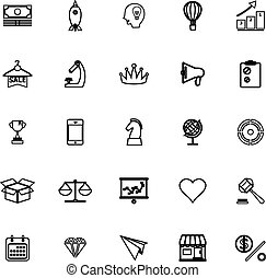 Marketing strategy line icons on white background, stock...