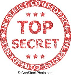 Top secret red rubber stamp with caption IN STRICT CONFIDENCE