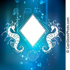 rhombus banner with seahorse - White banner in the shape of...