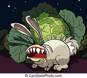 The enraged rabbit guards cabbage - Cartoon illustration of...