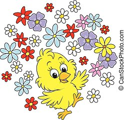 Easter Chick - A little yellow chicken dancing with flowers