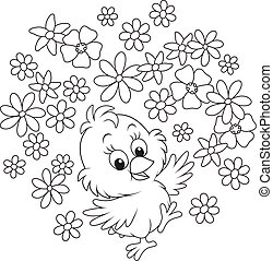 Easter Chick - A little chicken dancing with flowers, a...