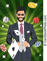 Confident lucky man throws aces Design concept for gambling...
