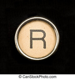 Typewriter letter R - The R button on a complete alphabet of...