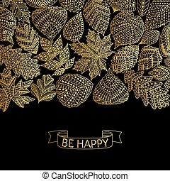 Golden pattern with different tree leaves such as oak and...