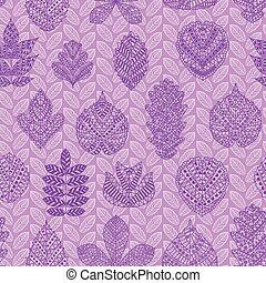 Seamless pattern with different tree leaves such as oak,...