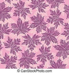 Seamless patterns with different tree leaves such as maple...