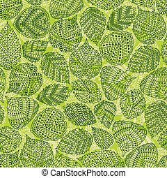 Seamless pattern with different tree leaves such as oak and...