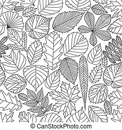 Seamless pattern with tree leaves. Various elements for...