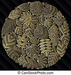 Round pattern with different tree leaves such as oak and...